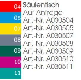 Säulentisch Farbpalette
